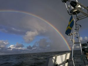 Beautiful rainbow spotted along the Dutch-Belgian coast
